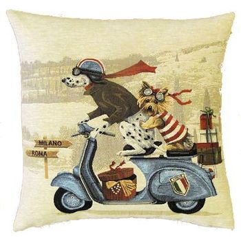 """Vespa dogs blue"" Belgian Tapestry cushion"