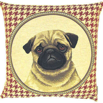 """""""Mops houndstooth"""" Belgian Tapestry cushion"""