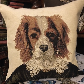 """Thierry Poncelet Cavalier King Charles"" Tapisserie Belge coussin"
