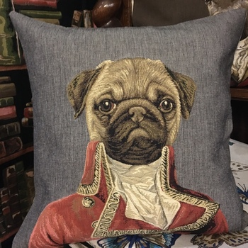 Thierry Poncelet Mops grey - Belgian Tapestry cushion