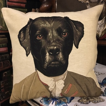 """Thierry Poncelet labrador black"" Belgium Tapestry cushion"