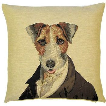 """Thierry Poncelet Fox terrier"" Tapisserie Belge coussin"