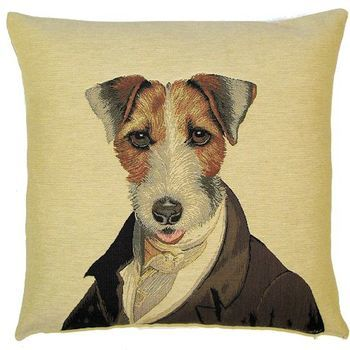 """""""Thierry Poncelet Fox terrier"""" Tapisserie Belge coussin"""