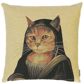 """""""Kat Susan Herbert Mona Lisa"""" Belgische tapisserie kussen"""
