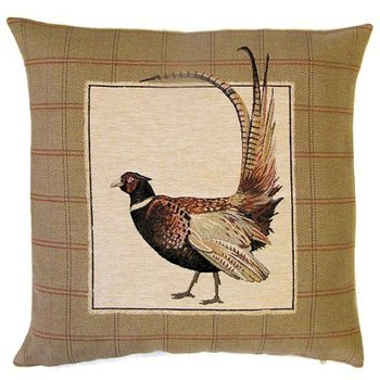 """Pheasant tail up"" Belgian Tapestry cushion"