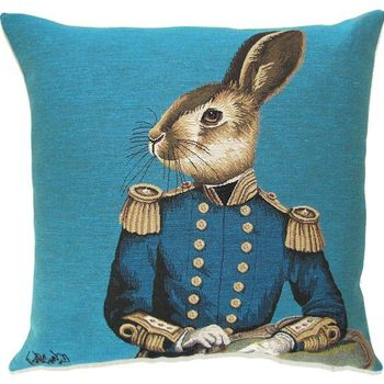 """Funky Hare"" Belgian Tapestry cushion"