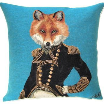 """Funky fox"" Belgian Tapestry cushion"