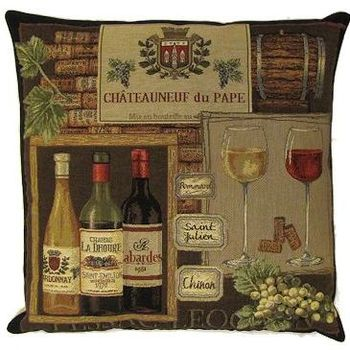 """ChÂteauneuf du pape"" Belgian Tapestry cushion"