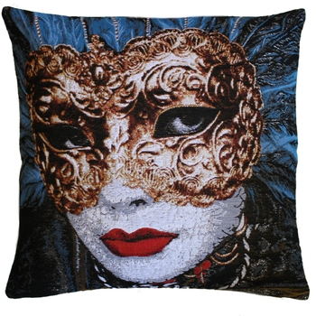 """Mask Blue"" Belgian Tapestry cushion"