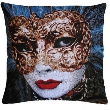 """""""Masker Blauw"""" Belgische tapisserie kussen"""