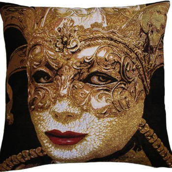 """Mask gold"" Belgian Tapestry cushion"