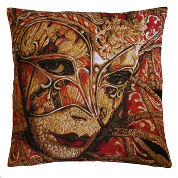 """Mask red"" Belgian Tapestry cushion"