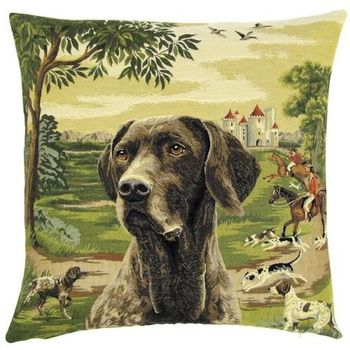 """Labrador brown Forest"" Belgian Tapestry cushion"