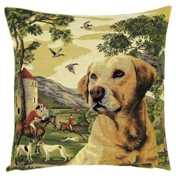 """Labrador yellow Forest"" Tapisserie Belge coussin"