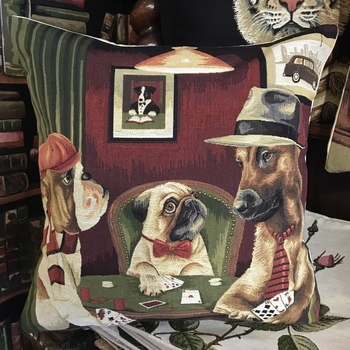 """""""Dogs card game"""" Belgian Tapestry cushion"""