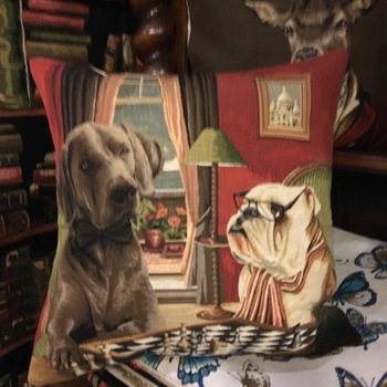 """Dogs chess"" Belgian Tapestry cushion"