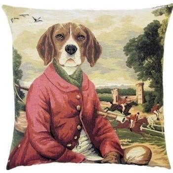 """Beagle on a horse hunting scene"" Belgian Tapestry cushion"