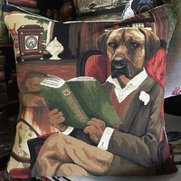 """""""Labrador in a armchair"""" Belgian Tapestry cushion"""