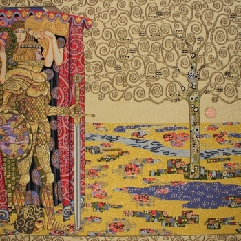 """""""Gustave Klimt, Le chevalier avec l'arbe de vie"""" Tapisserie Belge"""