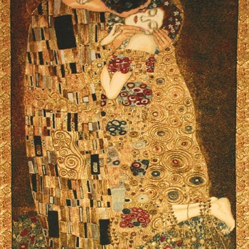 """Gustave Klimt, The Kiss"" Belgian tapestry wallhanging"