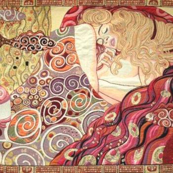 """Gustave Klimt, Serpents d'eau"" Belgian tapestry wallhanging"