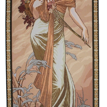"""""""Alfons Mucha """"Spring"""" Belgian tapestry  wallhanging"""