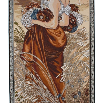 """Alfons Mucha,  Summer"" Belgian tapestry wallhanging"