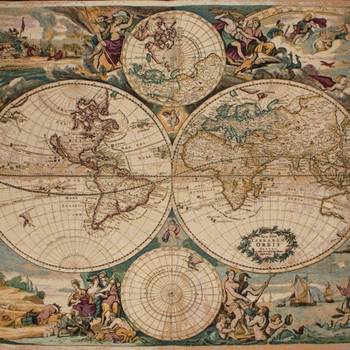 """Joan Blaeu Map of the world"" Belgian tapestry wallhanging"