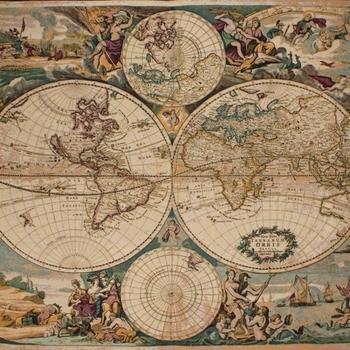 """Joan Blaeu Map of the world"" Belgian tapestry wallhanging"
