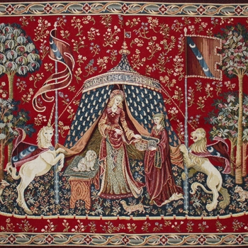 """Dame a la liconre"" Belgian Tapestry wallhanging"