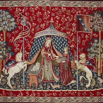 """""""Dame a la liconre"""" Belgian Tapestry wallhanging"""