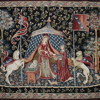 """Dame a la liconre""  Belgian Tapestry wandkleed"