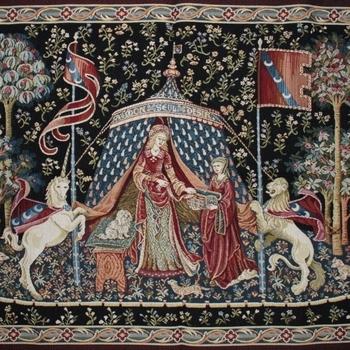 """Dame a la liconre""  Belgian Tapestry wandkleed"