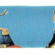 """Dressed deer, fox, hare"" Belgian tapestry cushion"