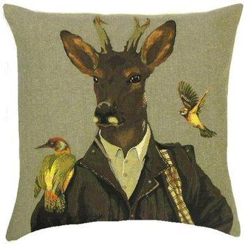 """""""Hert met 2 vogels"""" Belgische tapisserie kussen"""