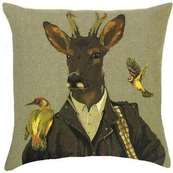 """Deer with 2 birds"" Belgian tapestry cushion"
