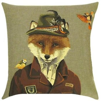 """""""Fox with 2 birds"""" Belgian Tapestry cushion"""