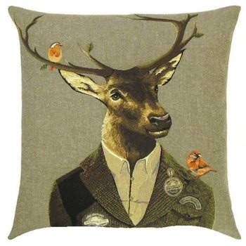 """Deer with 2 birds"" Belgian Tapestry cushion"