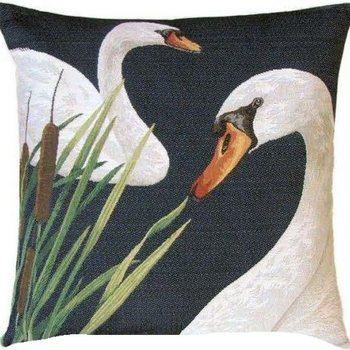 """Bruges swans"" Belgian tapestry cushion"