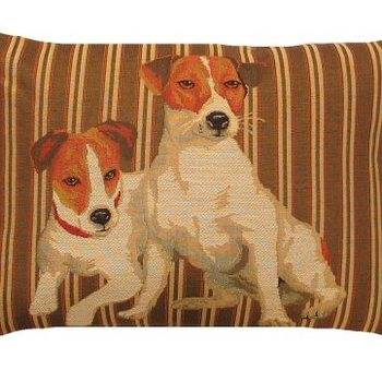 """Jack Russel stripes"" Belgian tapestry cushion"