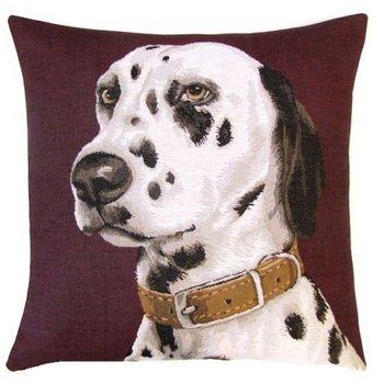 """Dalmation purple"" Belgian tapestry cushion"