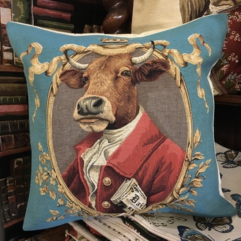 """dressed cow' Belgian Tapestry cushion"