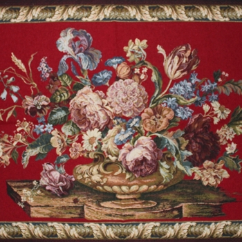 """Floral red"" Belgian Tapestry wallhanging"