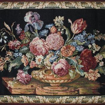 """Floral black"" Belgian Tapestry wallhanging"