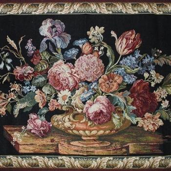 """""""Floral zwart"""" Belgische Tapisserie wandkleed"""