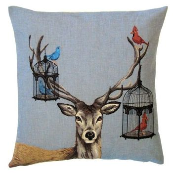 """Deer birdcage"" Belgian Tapestry cushion"