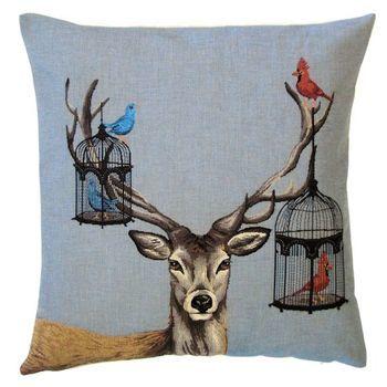 """Deer birdcage"" Belgian Tapestry cushion"