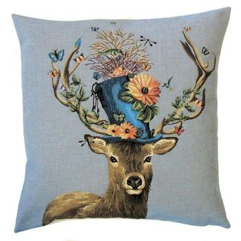 """Deer hat"" Belgian Tapestry cushion"