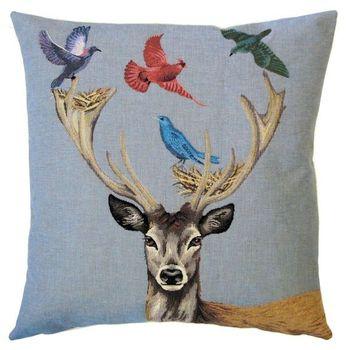 """""""Hert vogels"""" Belgische tapisserie kussen"""