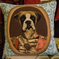 """Thierry Poncelet Boxer blue"" Belgium Tapestry cushion"